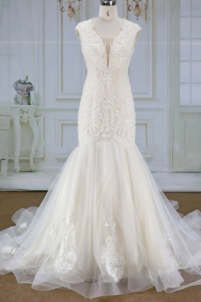 Awesome Appliques Tulle Mermaid Wedding Dress_1
