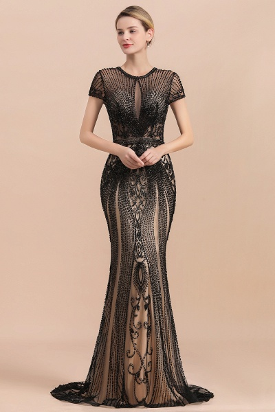 Luxury Black Beaded Mermaid Prom Dresses_1