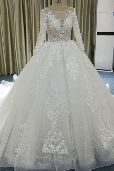 Vintage Appliques Long Sleeve Tulle Wedding Dress