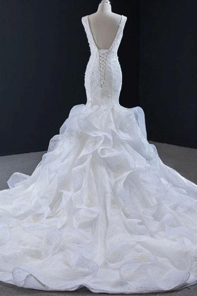 Graceful Lace-up Appliqes Mermaid Wedding Dress_3