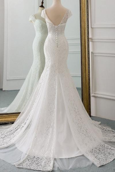 Sweetheart Short Sleeve Lace Mermaid Wedding Dress_3