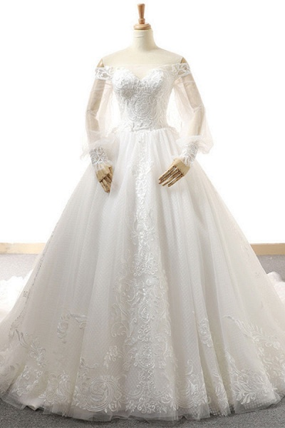 Appliques Long Sleeve Off Shoulder Wedding Dress_1