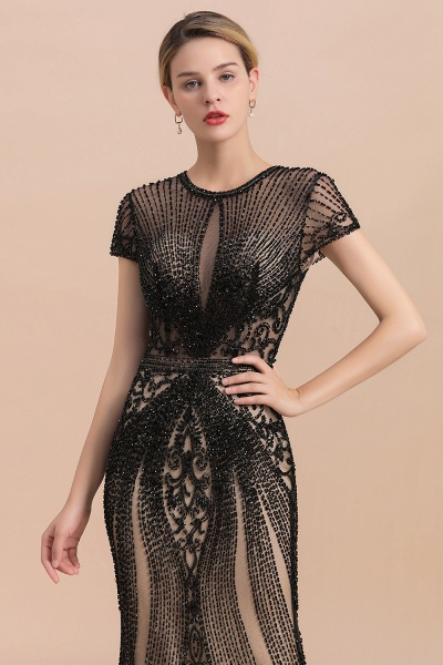 Luxury Black Beaded Mermaid Prom Dresses_6