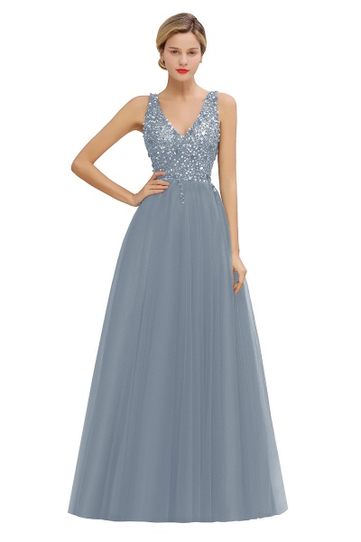 Fabulous V-neck Tulle A-line Prom Dress_5