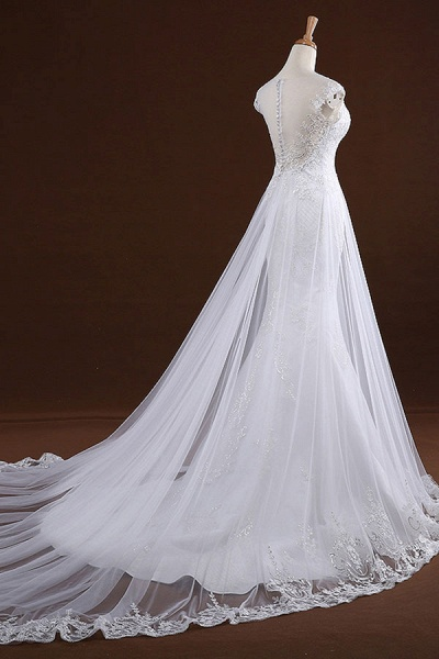 Sequine Appliques Tulle Mermaid Wedding Dress_5