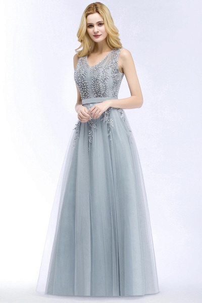 Straps V-neck Tulle Lace Long Evening Dress_8
