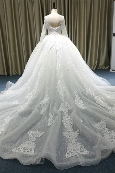 Vintage Appliques Long Sleeve Tulle Wedding Dress_3
