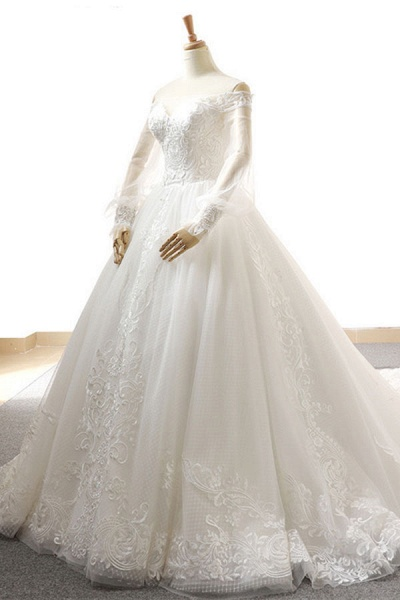 Appliques Long Sleeve Off Shoulder Wedding Dress_4