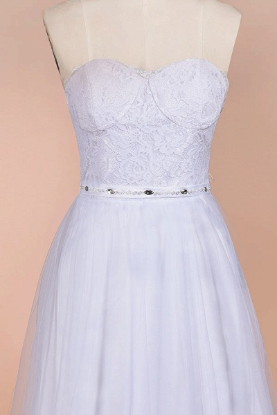 Graceful Strapless Tulle Lace A-line Wedding Dress_5