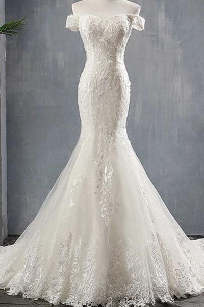 Applique Off Shoulder Lace-up Mermaid Wedding Dress_1