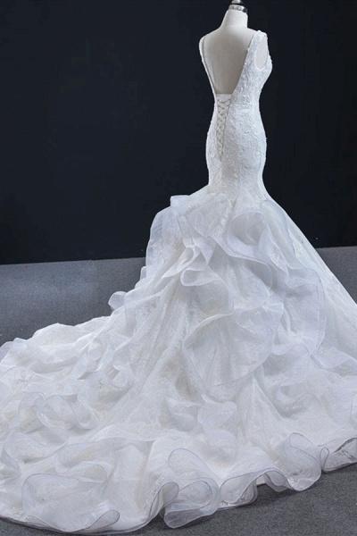 Graceful Lace-up Appliqes Mermaid Wedding Dress_5