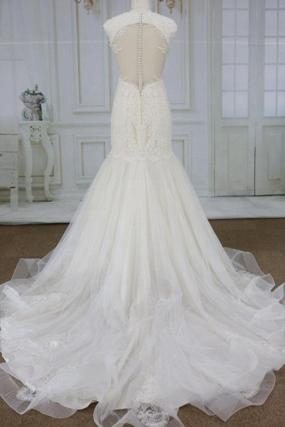 Awesome Appliques Tulle Mermaid Wedding Dress_3