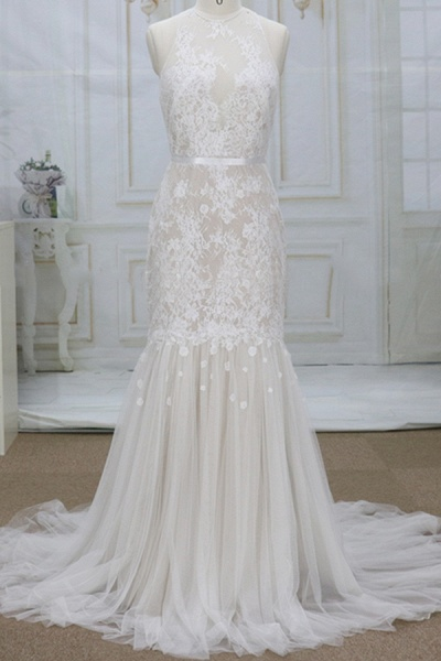 Amazing Appliques Tulle Mermaid Wedding Dress_1