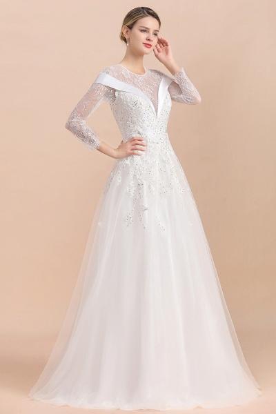 Elegant Floor Length Lace Long Sleeve Wedding Dress_8