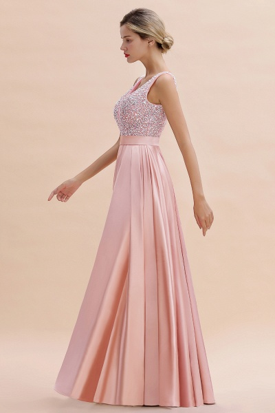 Awesome Open Back Beading Satin A-line Prom Dress_10