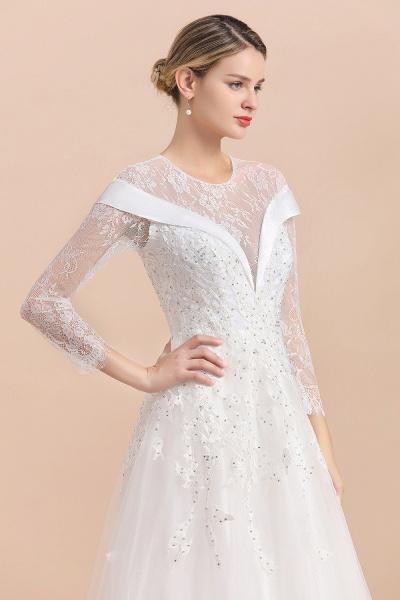 Elegant Floor Length Lace Long Sleeve Wedding Dress_10