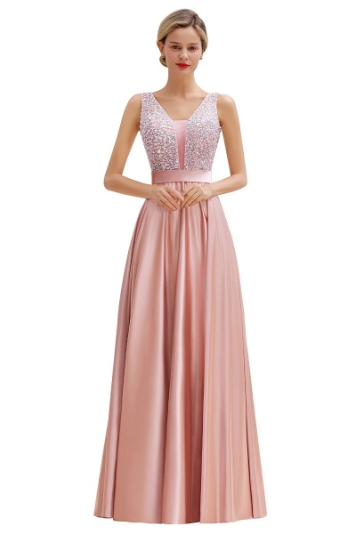Awesome Open Back Beading Satin A-line Prom Dress_1