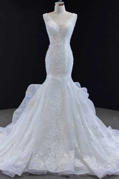 Graceful Lace-up Appliqes Mermaid Wedding Dress