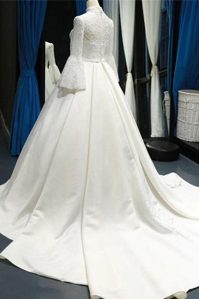 Elegant High Neck Long Sleeve Satin Wedding Dresses_4