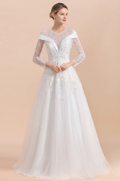 Elegant Floor Length Lace Long Sleeve Wedding Dress_4
