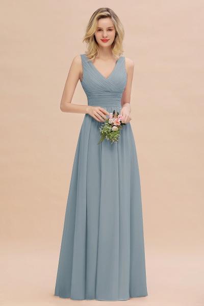 BM0752 Elegant A-line V-Neck Ruffles Long Bridesmaid Dress_40