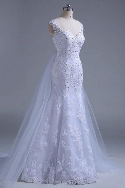 Beading Tulle Mermaid Floor Length Wedding Dress_6