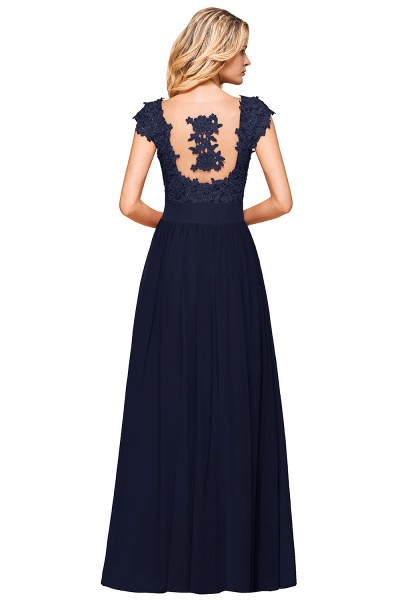 Burgundy Cap sleeves Lace Evening Gowns with Appliques_26