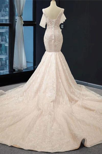V-Neck Short Sleeve Appliques Mermaid Wedding Dress_3