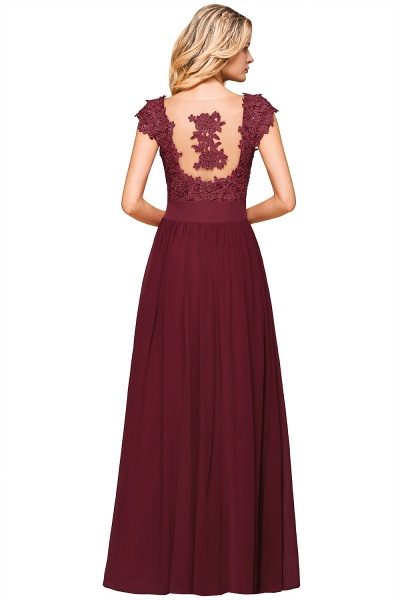 Burgundy Cap sleeves Lace Evening Gowns with Appliques_16