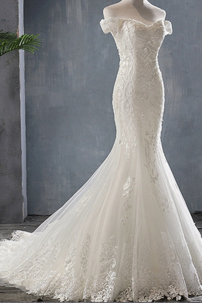 Applique Off Shoulder Lace-up Mermaid Wedding Dress_5
