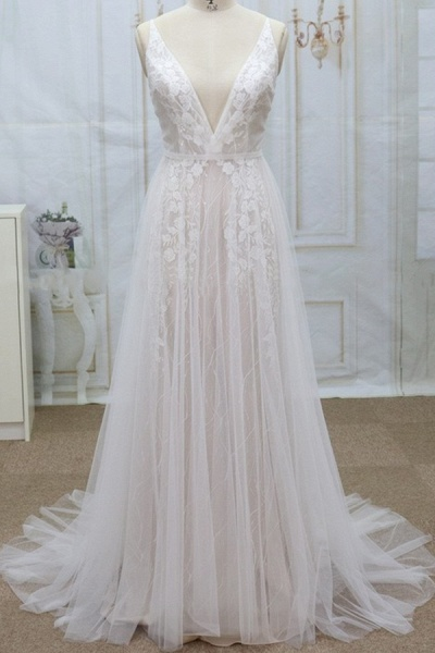 Spaghetti Strap V-neck Lace Tulle Wedding Dress_1