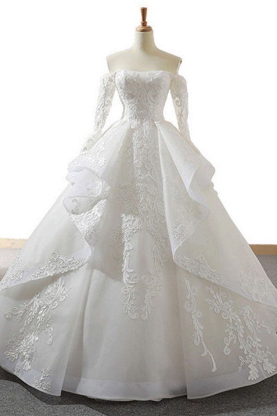 Lace-up Off Shoulder Long Sleeve Tulle Wedding Dress