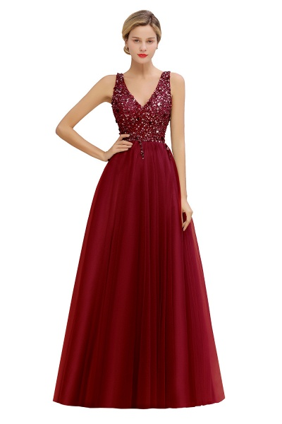 Fabulous V-neck Tulle A-line Prom Dress_2