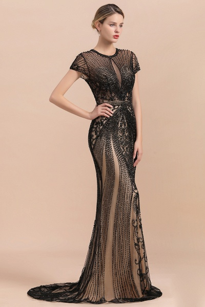 Luxury Black Beaded Mermaid Prom Dresses_4