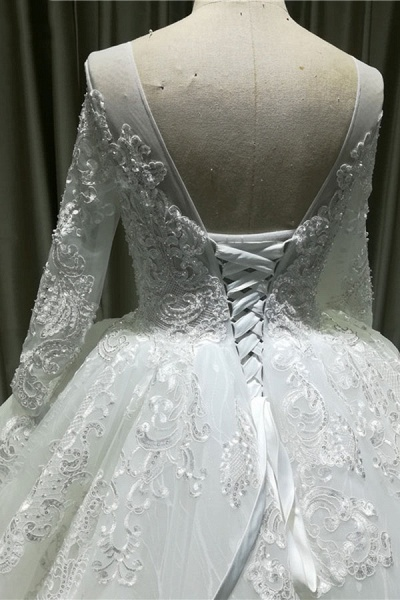 Vintage Appliques Long Sleeve Tulle Wedding Dress_5