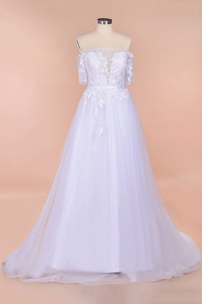A-line Off-the-shoulder Appliques Wedding Dress_2