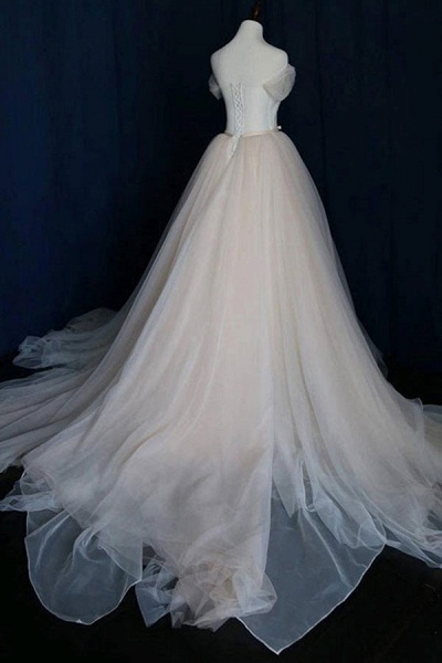 Awesome Lace-up Ruffle Tulle A-line Wedding Dress_3
