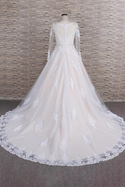Illusion Appliques Long Sleeve Tulle Wedding Dress_3