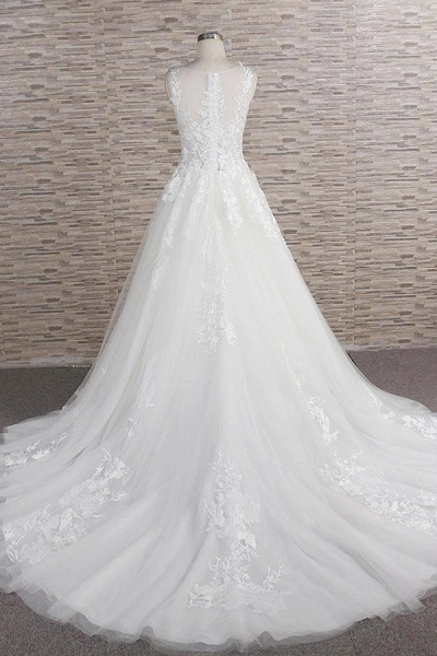 Eye-catching Applqiues Tulle A-line Wedding Dress_3