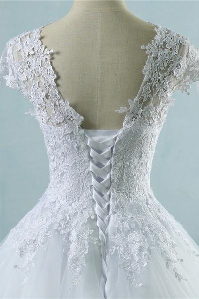Appliques Cap Sleeve Tulle A-line Wedding Dress_6