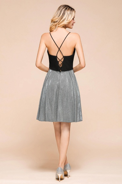 Spaghetti Strap Criss Cross A-line Short Prom Dress_3