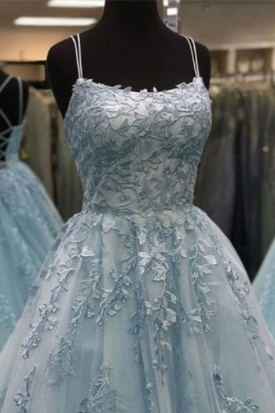 BC3627 A-line Lace Beaded Spagheitt Straps Evening Prom Dresses | Evening Party Prom Dresses_4