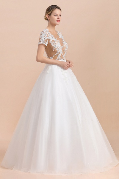 Chic Lace Tulle A-line Short Sleeve Wedding Dress_6