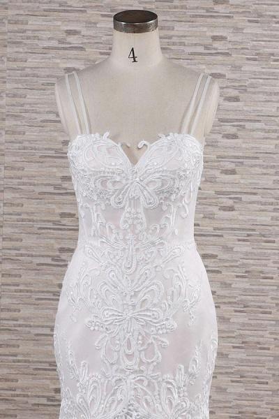 Chic Spaghetti Strap Appliques Mermaid Wedding Dress_5
