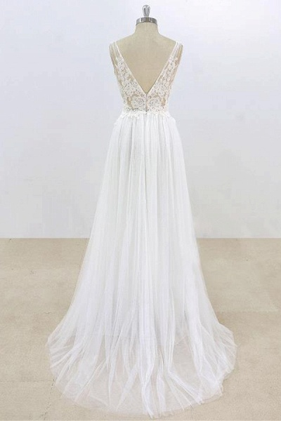 Deep V-neck Lace A-line Tulle Wedding Dress_3