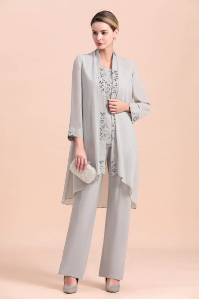 Glamorous Appliques Sleeveless Silver Chiffon Mother of Bride Jumpsuit With Wrap_4