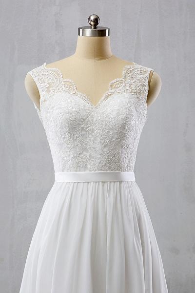 V-neck Lace Chiffon Flowy A-line Wedding Dress_4