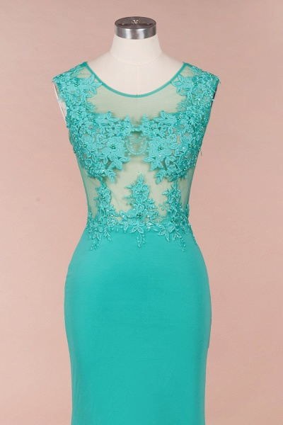 Lace appliques Mint Green Round Neck Cap sleeve Prom Dress_5