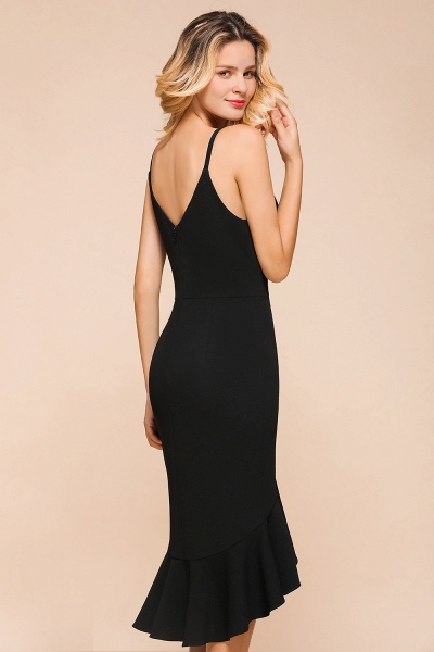 Simple Ruffle Backless High-low Mermaid Prom Dress_9