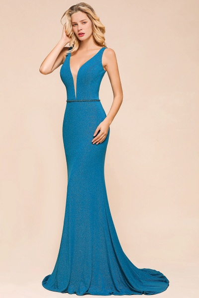 Elegant Open Back V-neck Long Mermaid Prom Dress_8